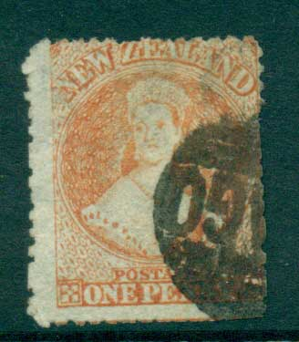 New Zealand 1864-67 Chalon 1d Vermillion Wmk lge. Star perf 12.5 Auckland FU Lot28409