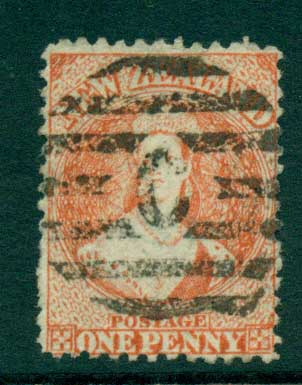New Zealand 1864-67 Chalon 1d Vermillion Wmk lge. Star perf 12.5 Auckland FU Lot28411