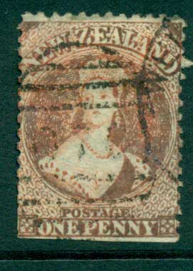New Zealand 1864-67 Chalon 1d Vermillion Wmk lge. Star perf 12.5 Auckland FU Lot28412