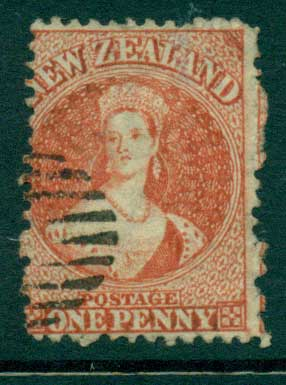 New Zealand 1864-67 Chalon 1d Vermillion Wmk lge. Star perf 12.5 Auckland FU Lot28414