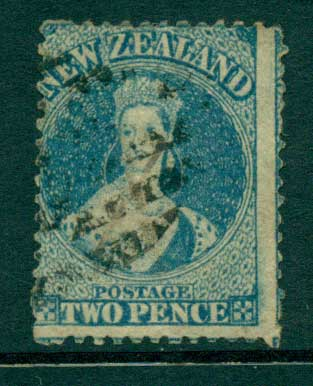 New Zealand 1864-67 Chalon 2d Blue Wmk lge. Star perf 12.5 Auckland FU Lot28415