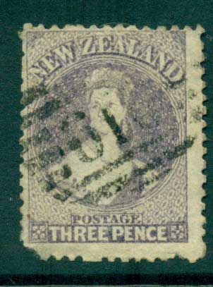 New Zealand 1864-67 Chalon 3d Lilac Wmk lge. Star perf 12.5 Auckland FU Lot28422