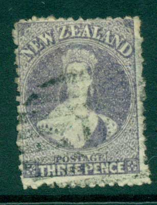 New Zealand 1864-67 Chalon 3d Lilac Wmk lge. Star perf 12.5 Auckland FU Lot28424