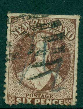 New Zealand 1864-67 Chalon 6d Red Brown Wmk lge. Star perf 12.5 Auckland FU Lot28439