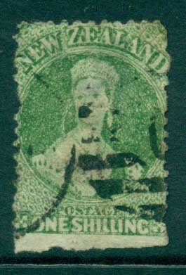 New Zealand 1864-67 Chalon 1/- Green Wmk lge. Star perf 12.5 Auckland FU Lot28448