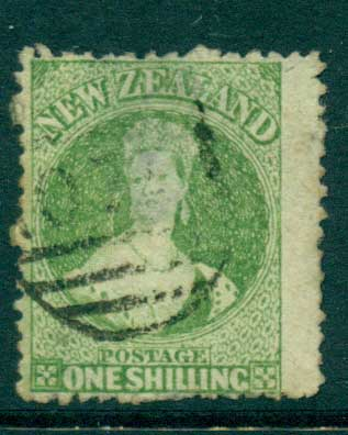 New Zealand 1864-67 Chalon 1/- Green Wmk lge. Star perf 12.5 Auckland(Thin) FU Lot28452