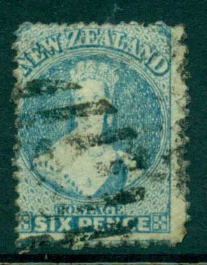 New Zealand 1871 6d Blue Wmk. Lge Star Perf 10 x 12.5 FU Lot28460