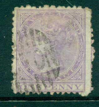 New Zealand 1874 1d Violet perf 12.½ FU Lot28462