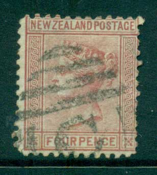 New Zealand 1874 4d claret perf 11� FU Lot28464