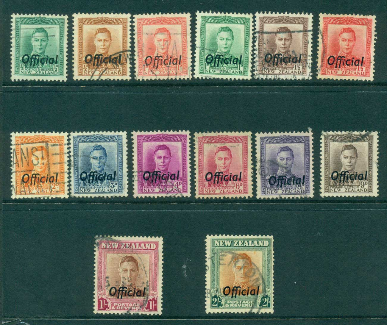 New Zealand 1941-51 Officials Asst to 2/- (14) FU Lot28482