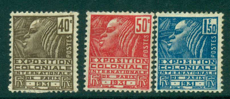 France 1930-1 Colonial Expo 40,50c, 1.50F Fachi Woman MH Lot28790