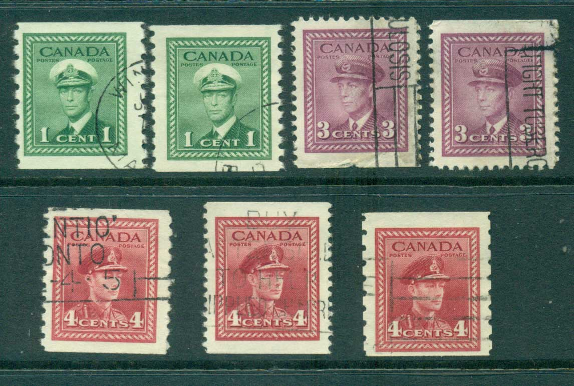 Canada 1942 Coils,Booklet Asst (7)FU Lot29298