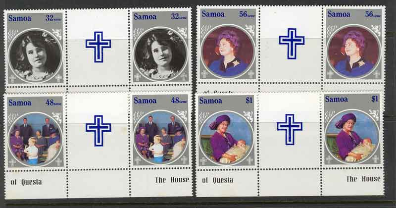 Samoa 1985 Queen Mothers B'day Gutter PairsMUH lot3641
