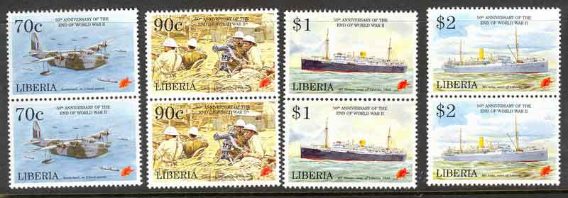 Liberia 1995 End of WWII Pairs MUH lot3691
