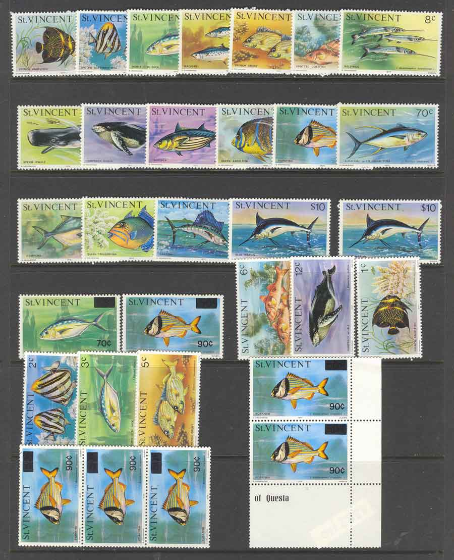 St Vincent 1975 Fish Defins Asst MUH Lot4382