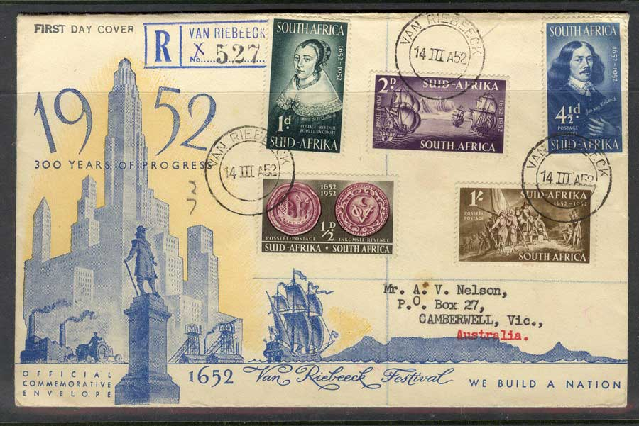South Africa 1952 Van Riebeck FDC Lot5676