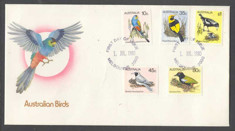 Australia 1980 Birds 10,35,45,80c,$1 FDC Lot6110