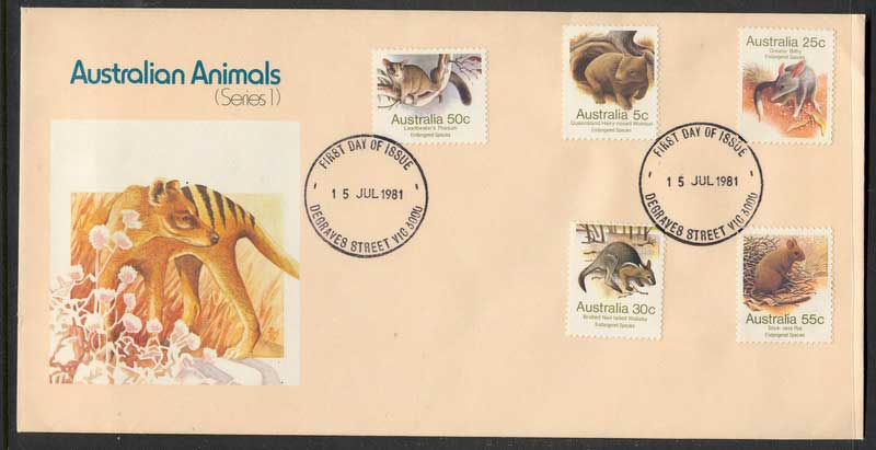 Australia 1981 Animals 5,25,30,50,55c FDC Lot6126