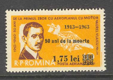 Romania 1963 Death of Auriel Vlaicu MUH Lot6710