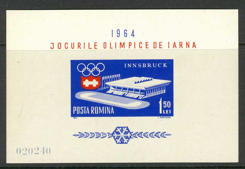 Romania 1963 Innsbruck Olympics MS MUH Lot6718