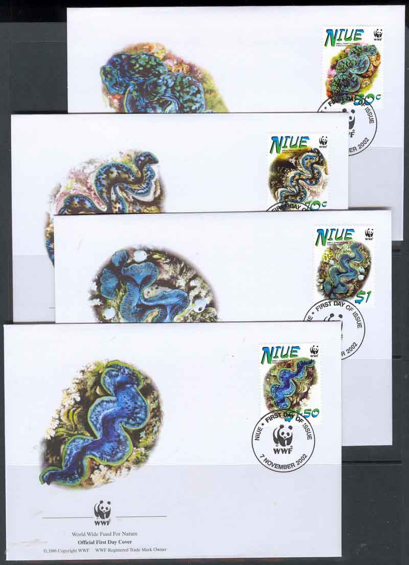 Niue 2002 WWF Giant Clam 4 x FDC lot6805