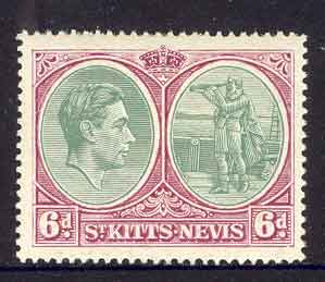 St Kitts Nevis 1943 6d Gn & Brt Purple P14 SG74b MUH lot6931