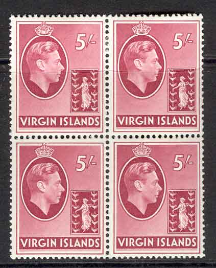 Virgin Is 1938 KGVI 5/- SG 119a Block 4 MLH/MUH Lot6970