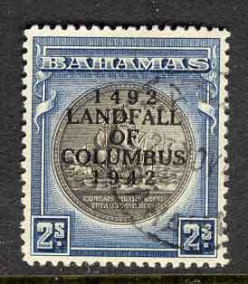 Bahamas 1942 2/- Columbus SG172b FU Lot7018