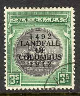 Bahamas 1942 3/- Columbus SG173a FU Lot7020