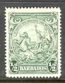 Barbados 1942 1/2d Green P14 SG248b MUH Lot7036