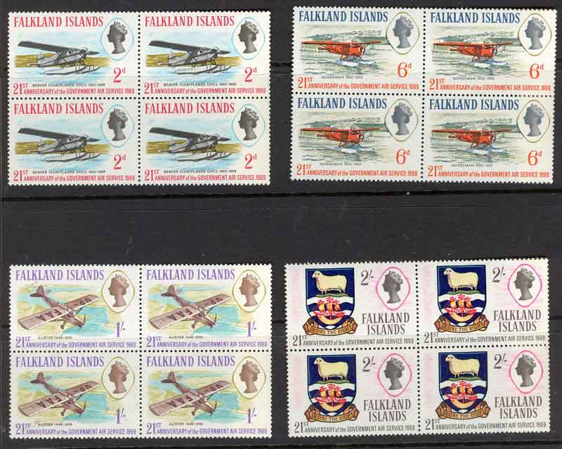 Falkland Is 1969 Govt Air Service Block 4 MUH Lot7092