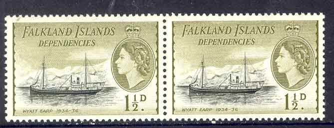 Falkland Is Deps 1954 1 1/2d Wyatt Earp Pair MUH Lot7103