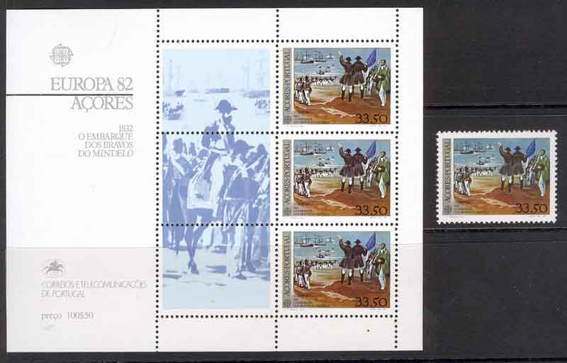 Azores 1982 Heroes of Mindelo + MS MUH Lot7381 - Click Image to Close