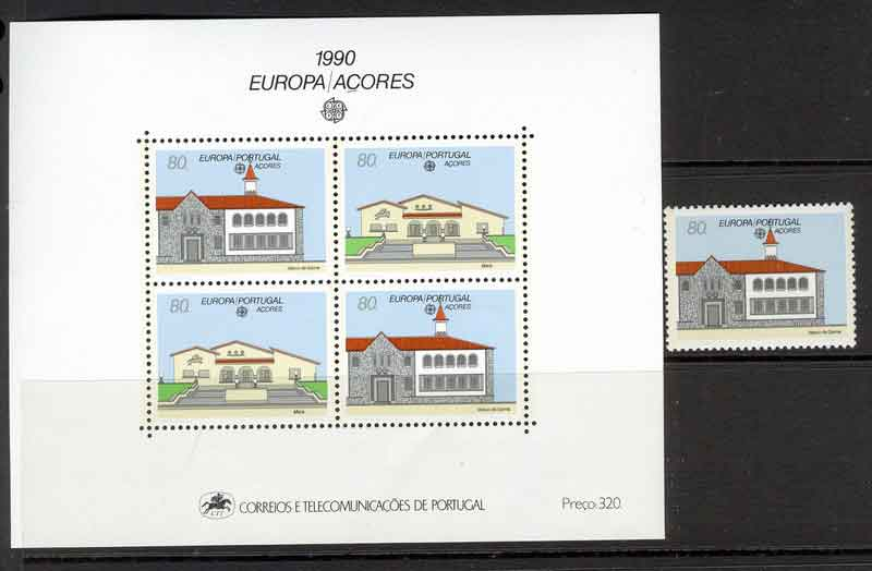 Azores 1990 EUROPA + MS MUH Lot7400