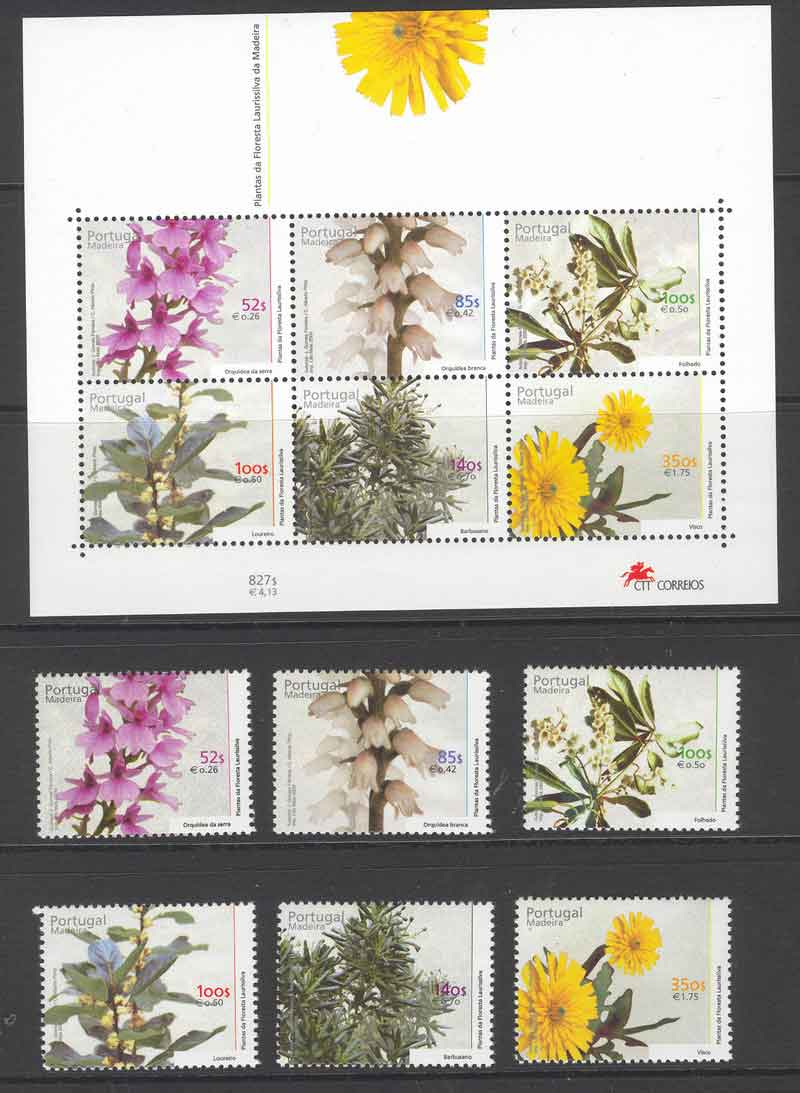 Madeira 2000 Forest Flowers + MS MUH Lot7481