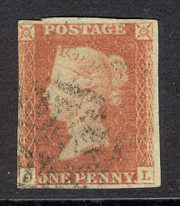 "GB 1841 1d Red Imperf ""OL"" 3 margins sg12 Lot7704 - Click Image to Close"