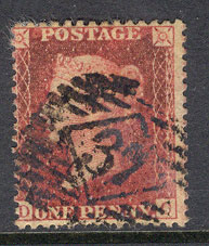 "GB 1855 1d Red Perf14 Wmk4 ""DO"" sg29 Lot7750"