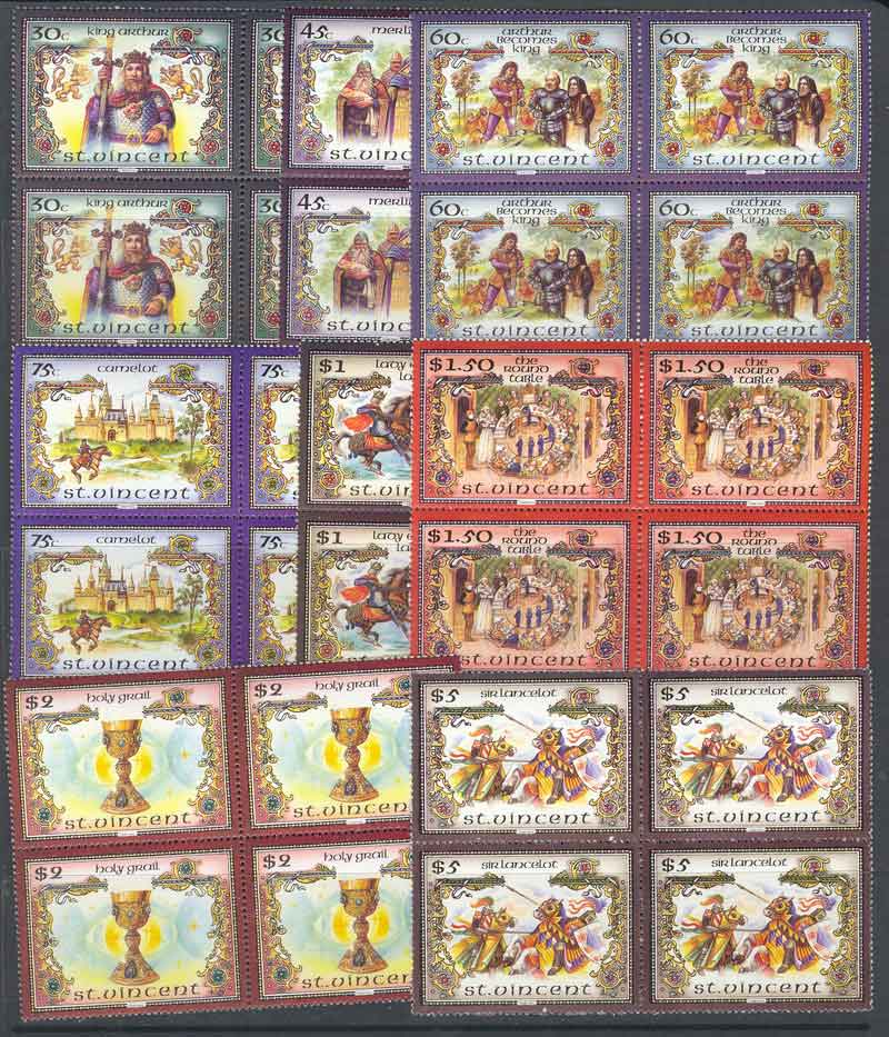 St Vincent 1986 Legends of King Arthur Block 4 MUH Lot7786