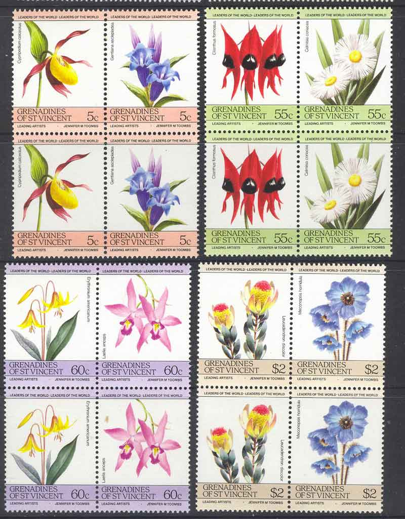 St Vincent Grenadines 1985 Flowers Pairs MUH Lot7790