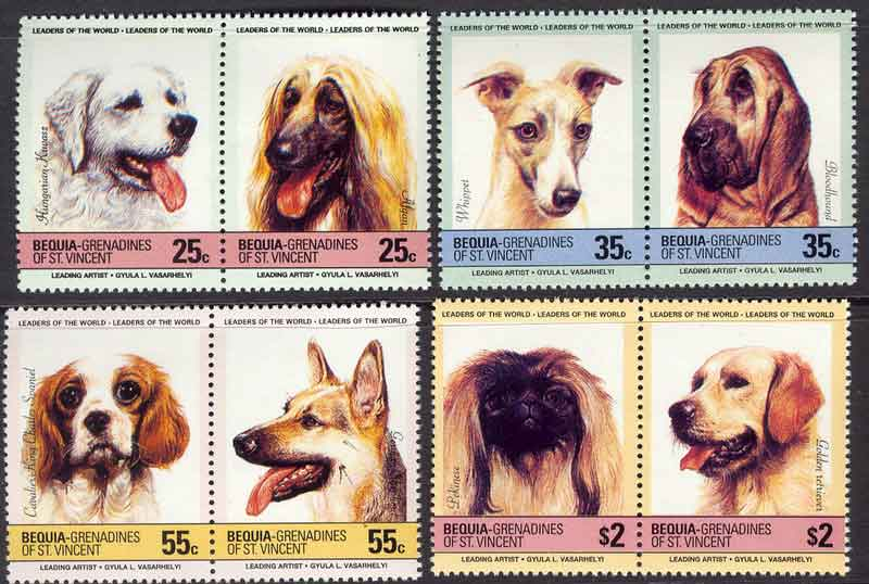 Bequia 1985 Dogs MUH Lot7795 Reprint