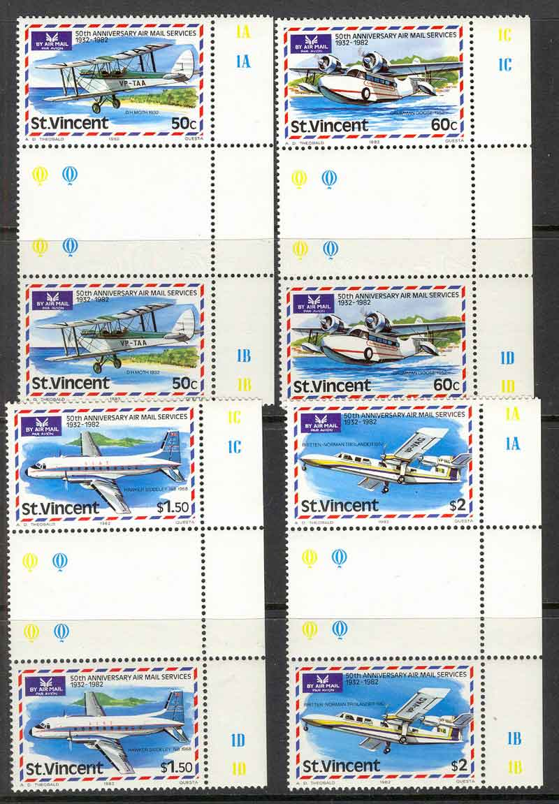 St Vincent 1982 50th Anniv. of Airmail Pairs MUH Lot7822