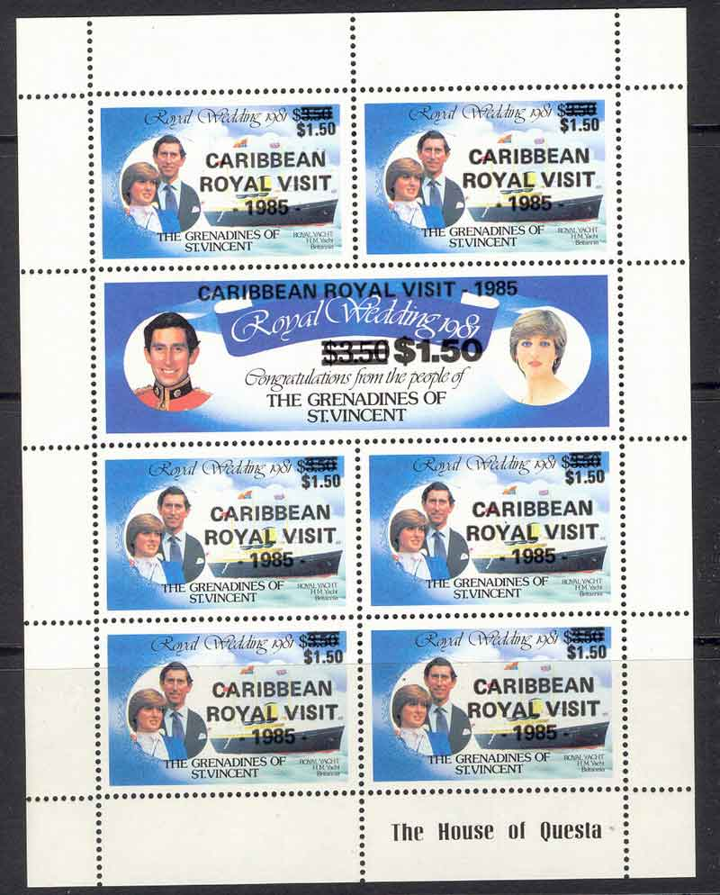 St Vincent Grenadines 1985 Royal Visit Opt MS MUH Lot7828