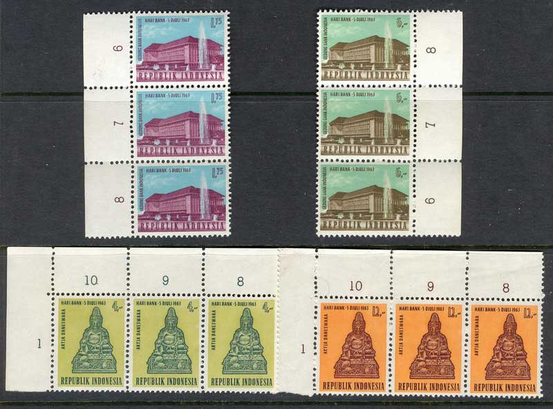 Indonesia 1963 National Banking Strip 3 MUH Lot8370