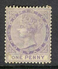 Dominica 1886 1d lilac sg#14 MH (crease) Lot8489