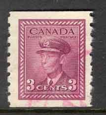 Canada 1943 3c purple coil, Red Cancel sg#392 FU Lot9062