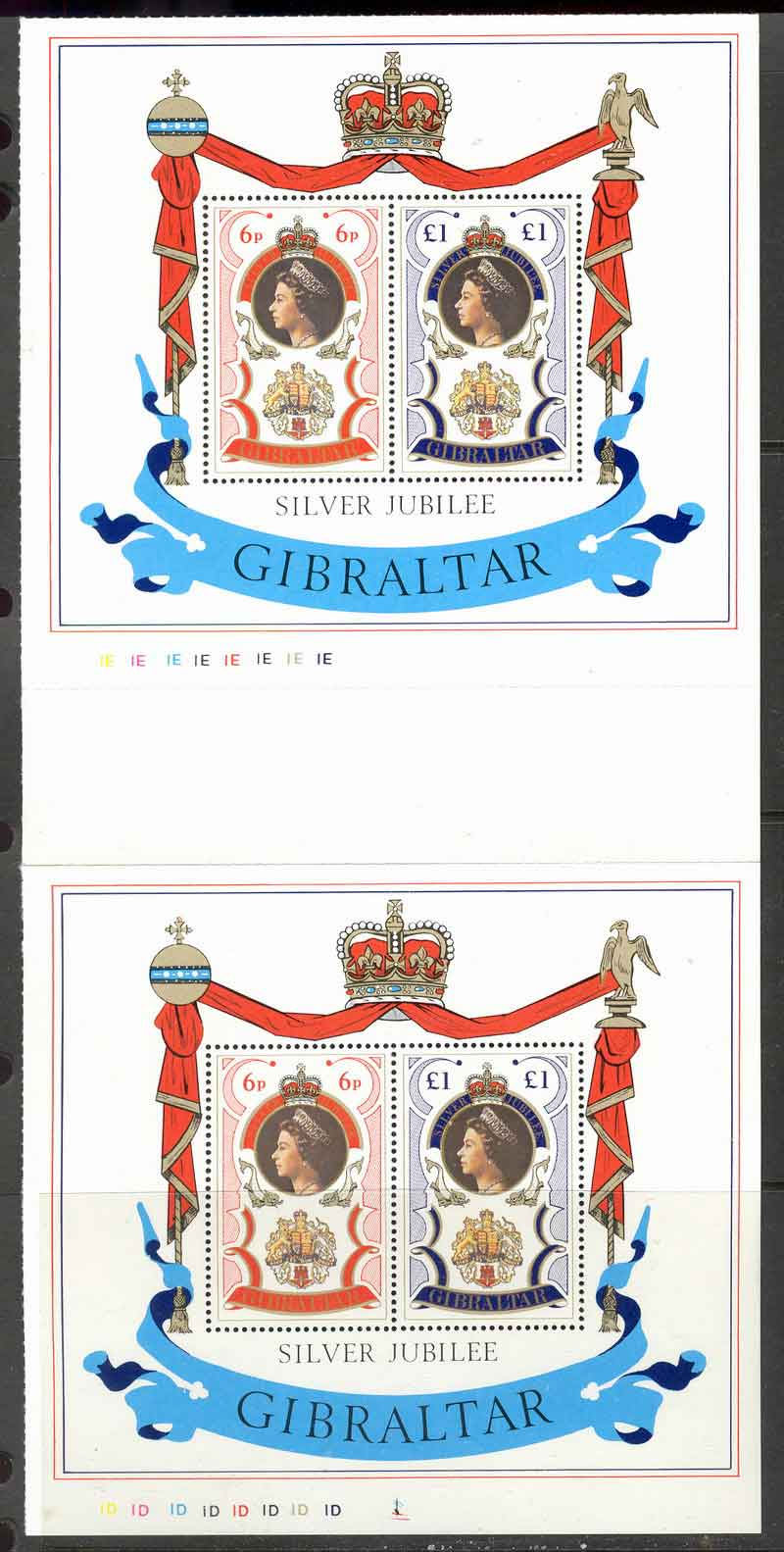 Gibraltar 1977 QEII Silver Jubilee Pair MS MUH Lot9122