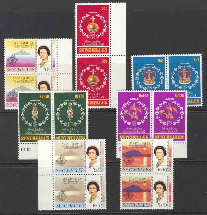 Seychelles 1977 QEII Silver Jubilee (no 20c)Pairs MUH Lot9135