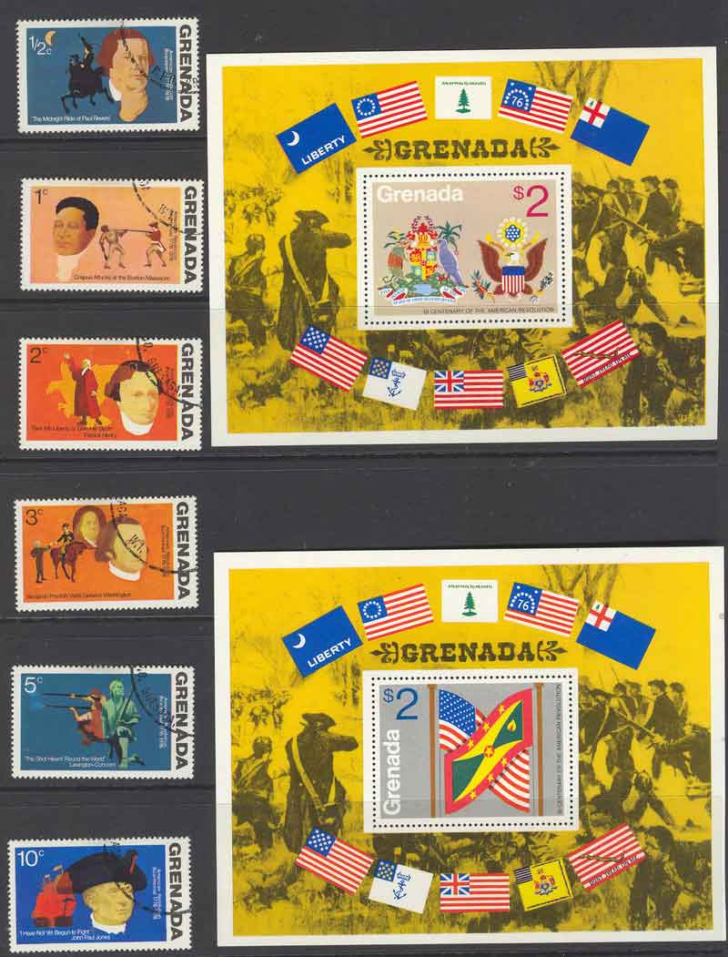 Grenada 1975 USA Bicentenial + MS CTO/MUH Lot9182