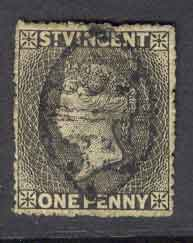 St Vincent 1871 1d black SG#15 FU Lot9262