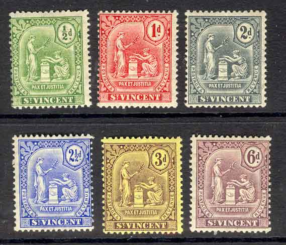 St Vincent 1909-11 1/2d -6d SG#102-7 MLH Lot9285